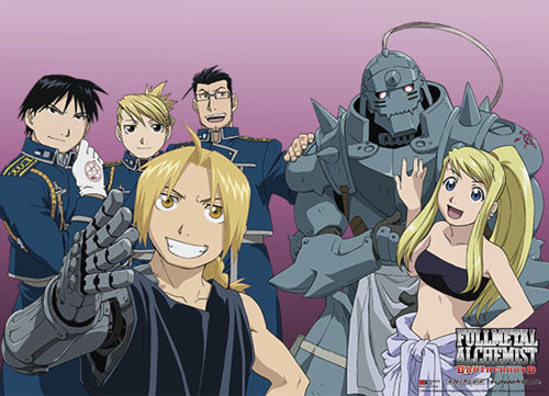 Fullmetal Alchemist Brotherhood - Elric Brothers And Friends Wall Scroll