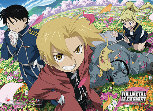 Fullmetal Alchemist Brotherhood - Elric Brothers, Mustang, And Winrey In Field High End Wall Scroll