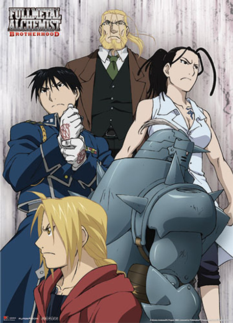 Fullmetal Alchemist Brotherhood - Elric Brothers, Mustang, Izumi, And Hohenheim Wall Scroll