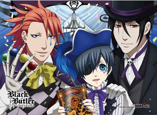 Black Butler B.O.C. - Ciel, Sebastian, And Joker Happy High End Wall Scroll