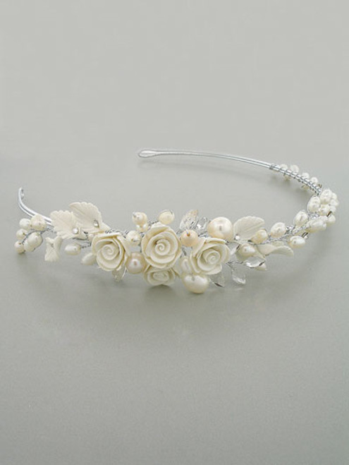 Bridal Head Band with Genuine Freshwater Pearls