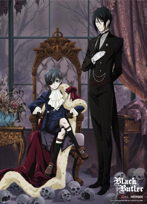 Black Butler - Sebastian Next To Ciel In His Thrown Wall Scroll