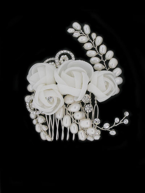 Chiffon Flower and Freshwater Pearl Hair Comb 3.25""