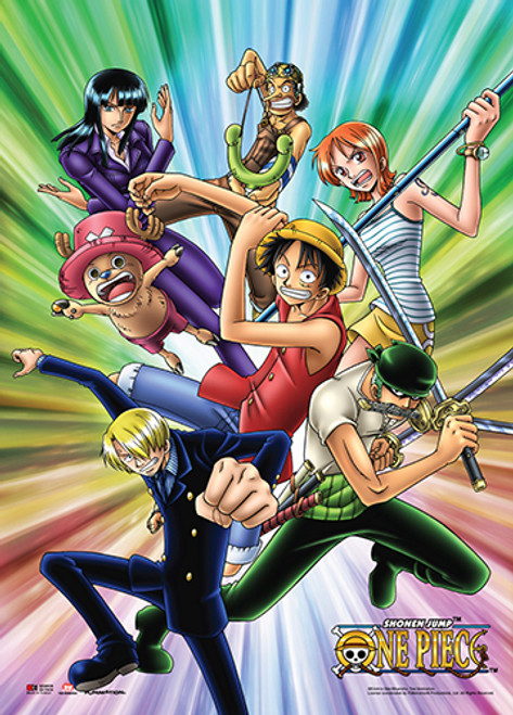 One Piece Straw Hats Bright Background Wall Scroll