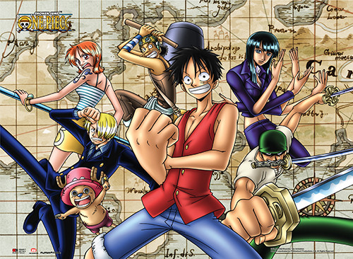 One Piece Straw Hats with Map Background Wall Scroll