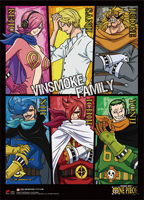 One Piece Vinsmoke Dad and Children Wall Scroll