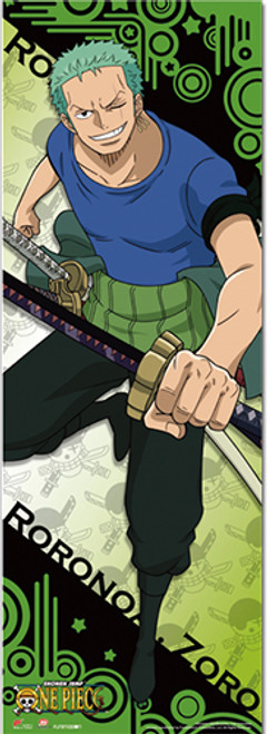 """One Piece Zoro Smiling with Sword Drawn 67"""" Wall Scroll"""
