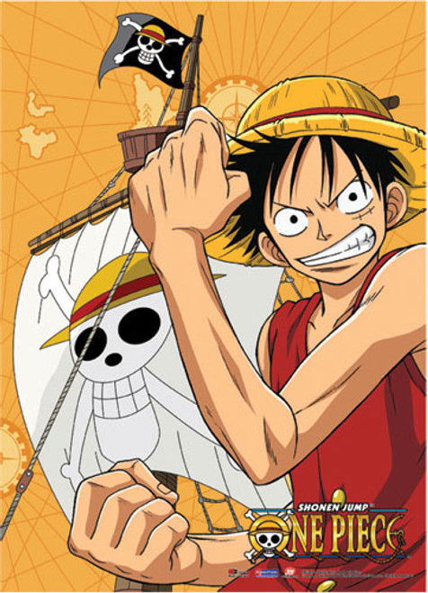 One Piece Luffy with the Going Mary in the Background Wall Scroll