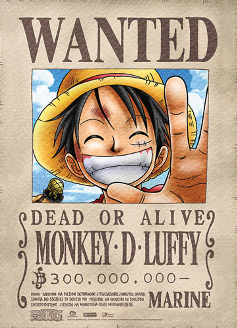 One Piece Luffy's First Wanted Bounty Wall Scroll