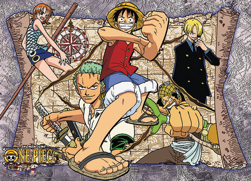 One Piece Straw Hats with a Map Background Wall Scroll