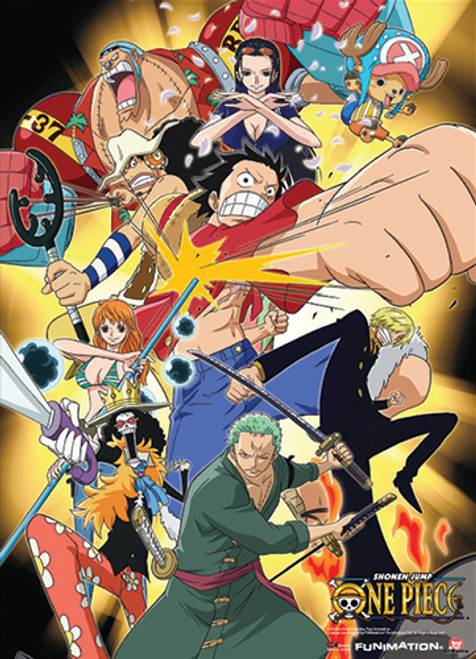 One Piece Straw Hat Pirates Fighting Wall Scroll
