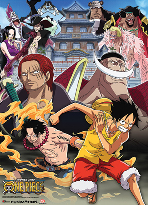 One Piece Luffy, and Ace During the Marineford Arc Wall Scroll