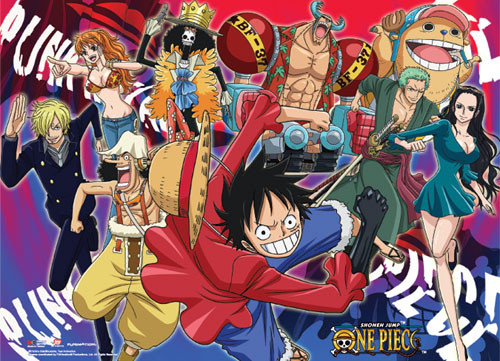 One Piece Straw Hat Pirates Fighting Poses Wall Scroll