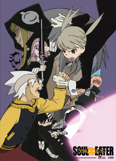 Soul Eater Maka, and Soul Evans Fighting Witches Wall Scroll