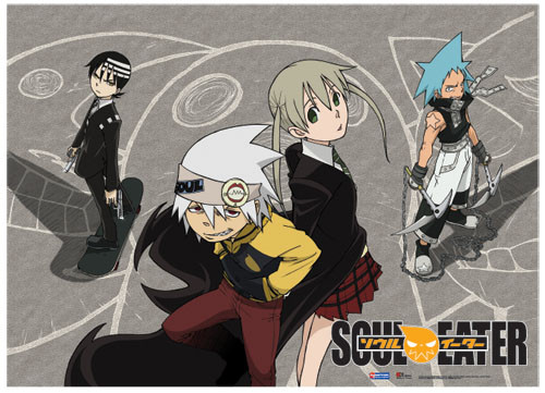 Soul Eater Death the Kid, Black Star, Maka, and Soul Wall Scroll