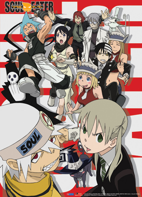 Soul Eater All the Main Characters with Red and White Background Wall Scroll