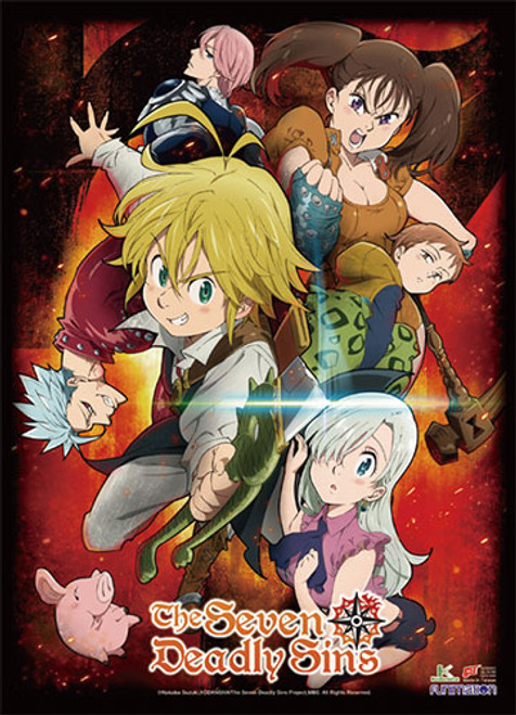 Seven Deadly Sins The Sins with Gilthunder, and Elizabeth High End Wall Scroll