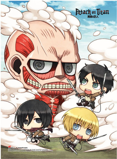 Attack On Titan - Chibi Scout Regiment Vs Colossal Titan High End Wall Scroll