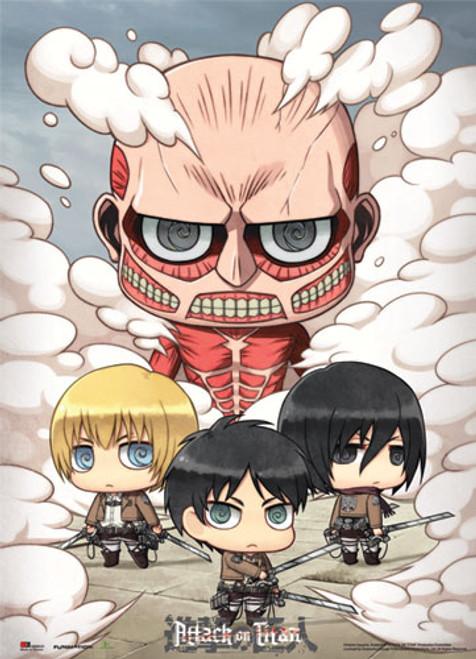 Attack On Titan - Chibi Eren, Armin, And Mikasa Vs Colossal Titan Wall scroll