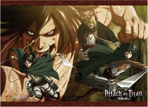 Attack On Titan 2 - Eren (Human And Titan), Mikasa, And Armin High End Wall Scroll