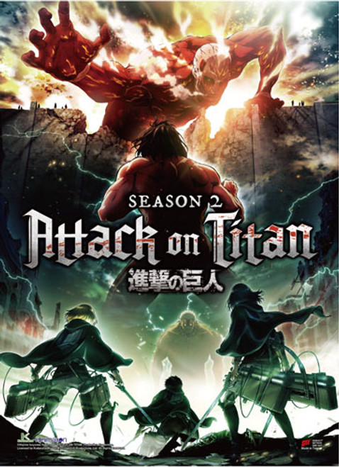 Attack On Titan 2 - Eren And Scouts Vs Colossal Titan And Armored Titan Key Art Wall Scroll