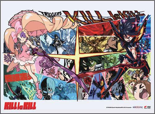 Kill La Kill Ryuko Vs Nui  With Comic Book Style BackgroundWall Scroll