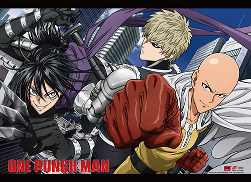 One Punch Man Saitama, Genos, and Sonic Wall Scroll