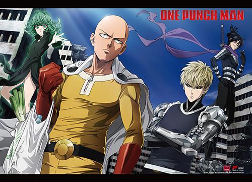 One Punch Man Saitama, Genos, Sonic, and Tatsumaki Wall Scroll