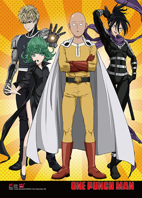 One Punch Man Saitama, Genos, Sonic, and Tatsumaki  with a Yellow Background Wall Scroll