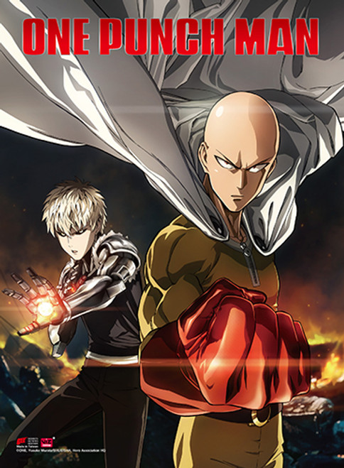 One Punch Man Saitama, and Genos Fighting Poses High End Wall Scroll