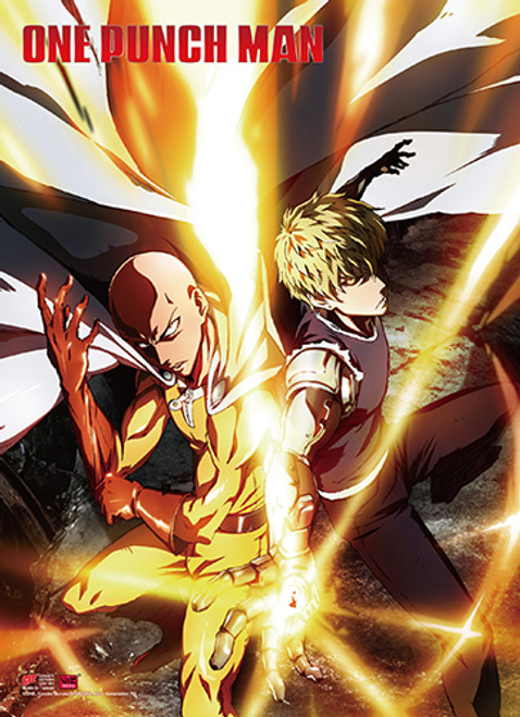One Punch Man Saitama, and Genos Ready to Fight High End Wall Scroll