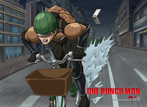 One Punch Man Mumen Rider Riding in the Rain Wall Scroll
