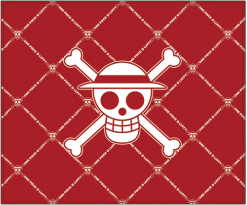 One Piece Straw Hats Jolly Roger on a Red Throw Blanket