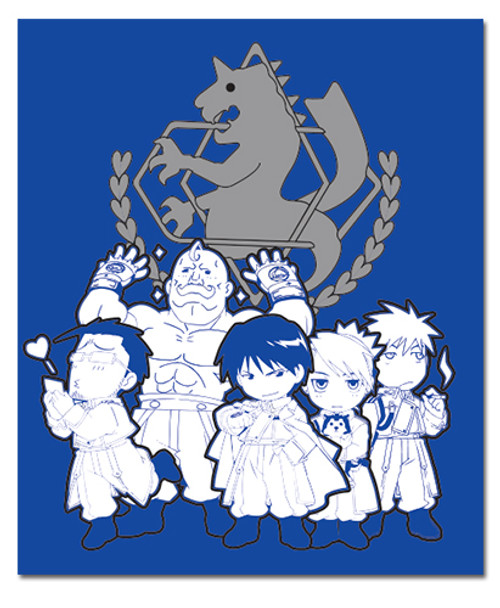FullMetal Alchemist Brotherhood Chibi Military Characters Throw Blanket