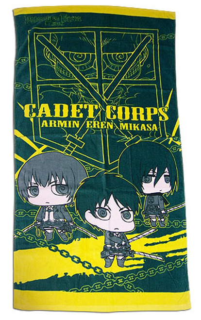 Attack On Titan - Chibi Armin, Mikasa, and Eren Beach Towel