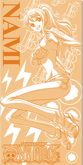One Piece Nami Orange, and White Beach Towel