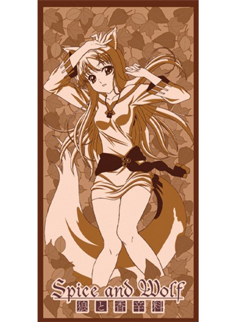 Spice and Wolf Holo Laying Leafs Beach Towel