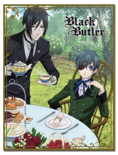 Black Butler Ciel, and Sebastian Drinking Tea Throw Blanket