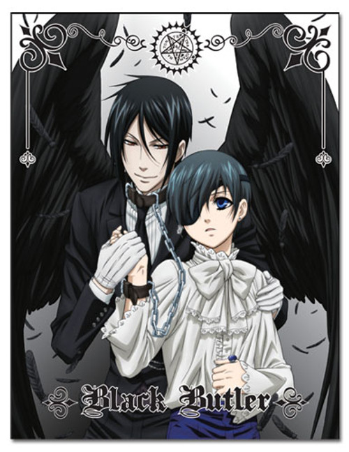 Black Butler Ciel, and Sebastian With His Black Wings Throw Blanket