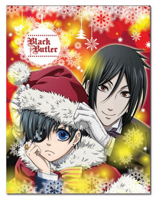Black Butler Ciel, and Sebastian Celebrating Christmas Throw Blanket