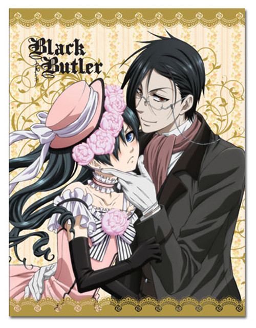 Black Butler Sebastian, and Ciel in a Dress Throw Blanket