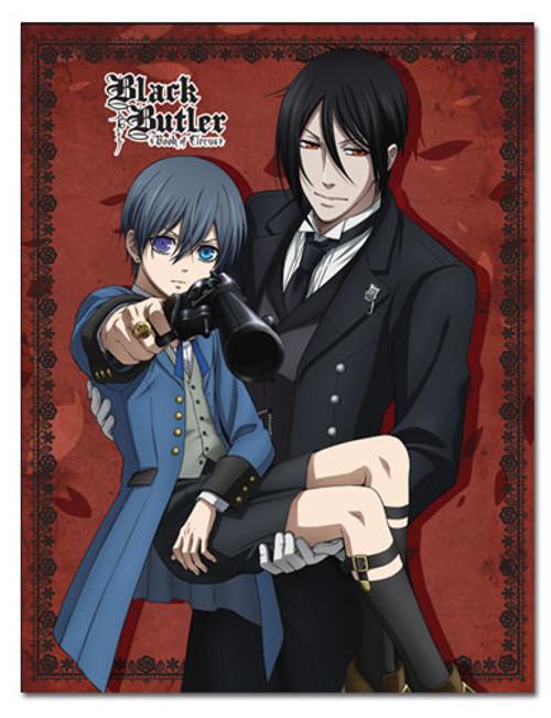 Black Butler Sebastian, and Ciel Holding a Gun Throw Blanket