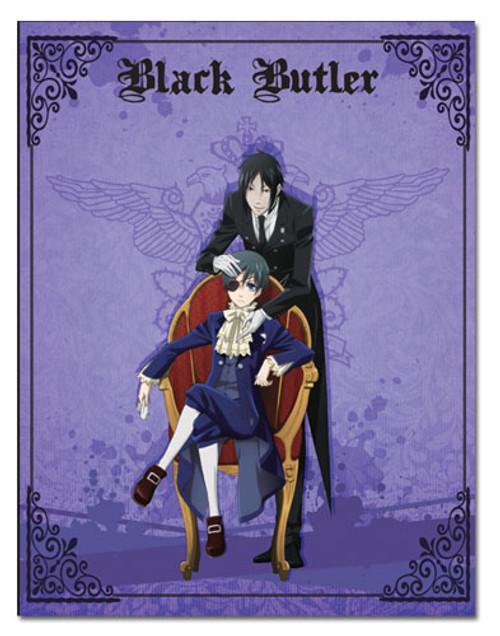 Black Butler Sebastian, and Ciel Purple Throw Blanket