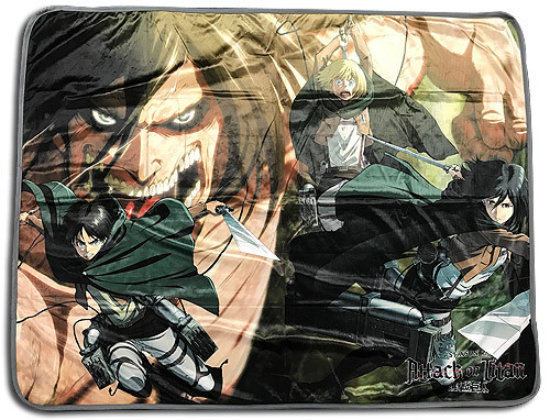 Attack On Titan - Titan Eren, and Mikasa, and Armin Throw Blanket