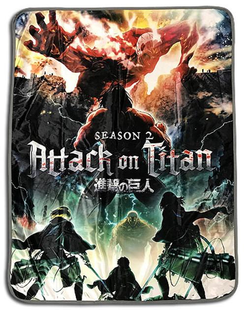 Attack On Titan - Titan Eren, and Colossal Titan Throw Blanket
