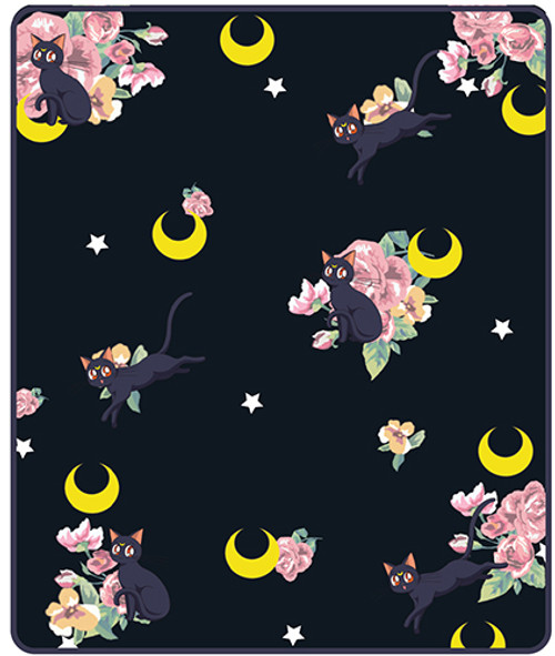 Sailor Moon Luna With Pink Flowers Throw Blanket