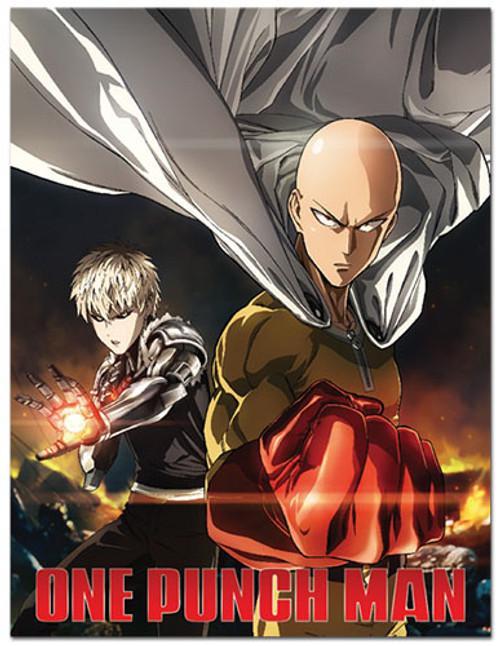 One Punch Man Saitama, and Genos Fighting Pose Throw Blanket