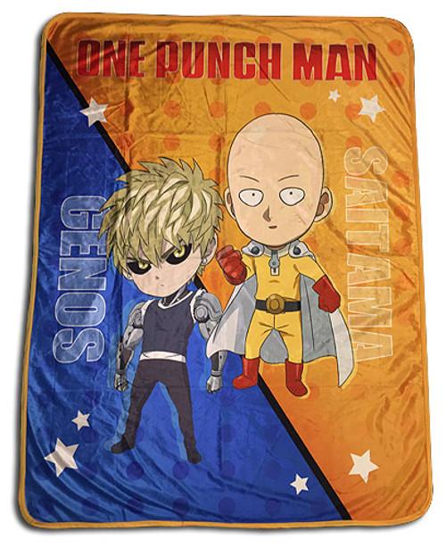One Punch Man Chibi Saitama, and Genos Throw Blanket