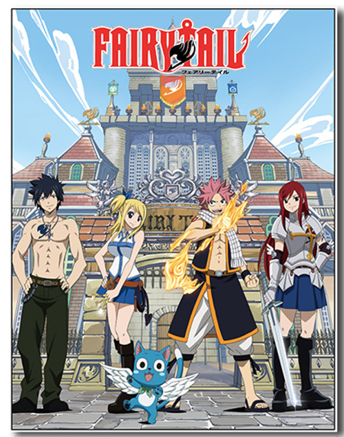 Fairy Tail Natsu, and Group in Front of Guild Building Throw Blanket