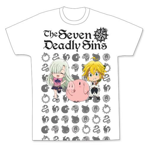 Seven Deadly Sins Chibi Meliodas, Elizabeth, And Hawk  T-Shirt